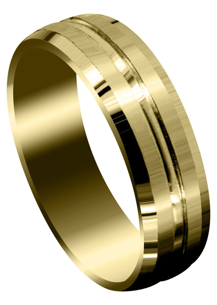 Yellow Gold Fancy Carved Contemporary Mens Wedding Band | Satin Finish (Carter)