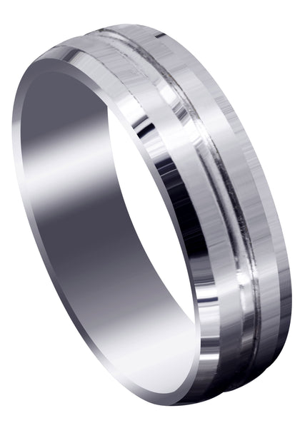 Fancy Carved Contemporary Mens Wedding Band | Satin Finish (Carter)