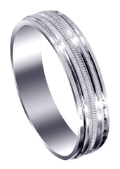 Carved Simple Mens Wedding Band | High Polish Finish (Charles)