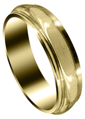 Yellow Gold Carved Simple Mens Wedding Band | High Polish Finish (Thomas)