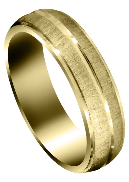 Yellow Gold Carved Simple Mens Wedding Band | Cross Satin Finish (Aaron)