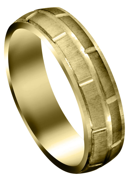 Yellow Gold Carved Diamond Carved Mens Wedding Band | Cross Satin Finish (Eli)