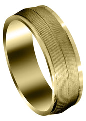 Yellow Gold Carved Modern Mens Wedding Band | GB / High Polish Finish (Hudson)