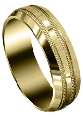 Yellow Gold Carved Simple Mens Wedding Band | High Polish Finish (Jeremiah)