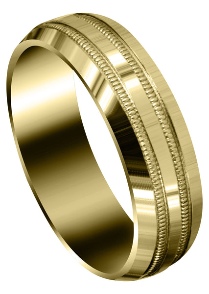 Yellow Gold Carved Simple Mens Wedding Band | High Polish Finish (Dominic)