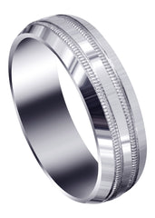 Carved Simple Mens Wedding Band | High Polish Finish (Jeremiah)