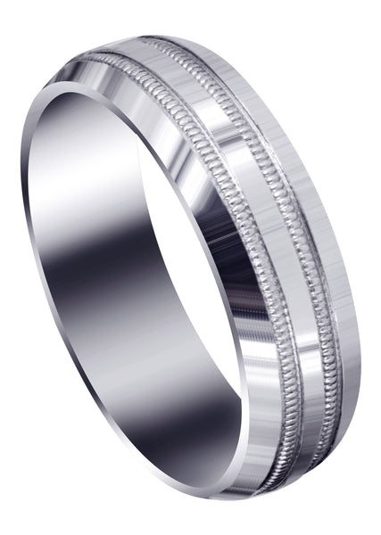 Carved Simple Mens Wedding Band | High Polish Finish (Dominic)
