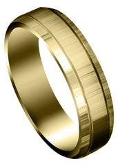 Yellow Gold Carved Simple Mens Wedding Band | High Polish Finish (Cameron)