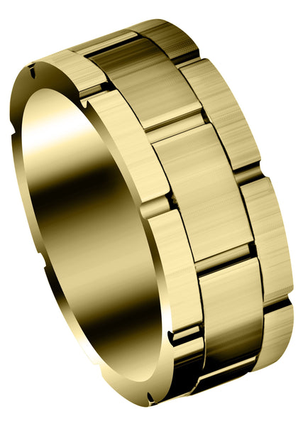Yellow Gold Fancy Carved Contemporary Mens Wedding Band | Satin Finish (Jace)