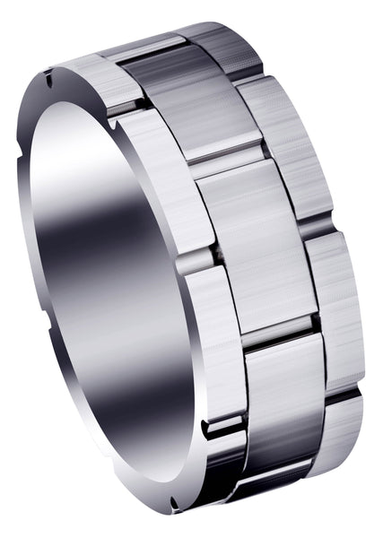 Fancy Carved Contemporary Mens Wedding Band | Satin Finish (Jace)