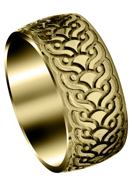 Yellow Gold Ultra Fancy Unique Mens Wedding Band | High Polish Finish (Jose)