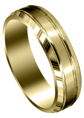 Yellow Gold Carved Simple Mens Wedding Band | Satin Finish (Jaxson)