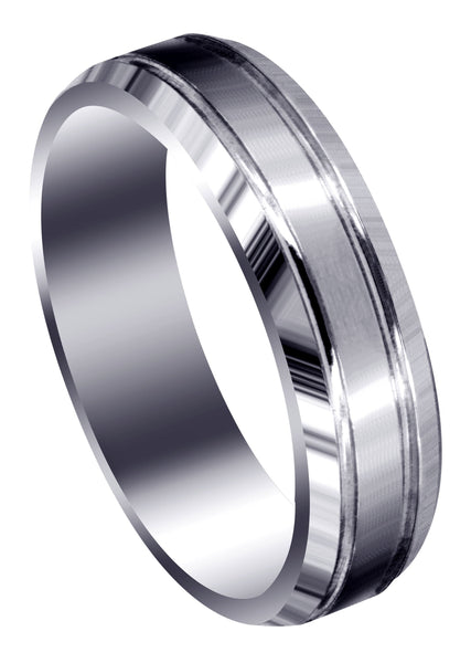 Carved Simple Mens Wedding Band | Satin Finish (Jaxson)