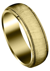 Yellow Gold Carved Simple Mens Wedding Band | Cross Satin Finish (Jason)
