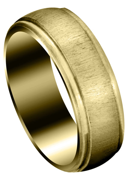 Yellow Gold Carved Simple Mens Wedding Band | Cross Satin Finish (Xavier)