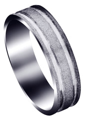 Carved Simple Mens Wedding Band | Stone Finish (Sawyer)