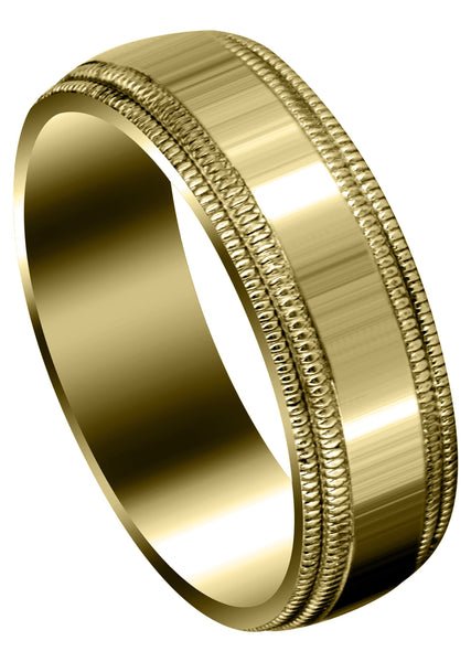 Yellow Gold Carved Simple Mens Wedding Band | High Polish Finish (Blake)