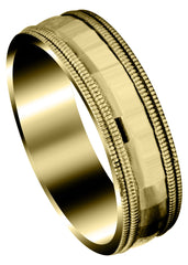 Yellow Gold Carved Diamond Cut Mens Wedding Band | High Polish Finish (Ryder)