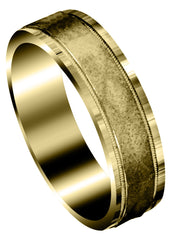 Yellow Gold Carved Simple Mens Wedding Band | Sand Blast Finish (Roman)