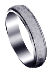 Carved Diamond Cut Mens Wedding Band | Satin / High Polish Finish (Leonardo)