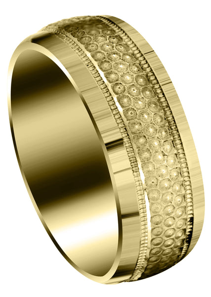 Yellow Gold Fancy Carved Contemporary Mens Wedding Band | GB / High Polish Finish (Brody)