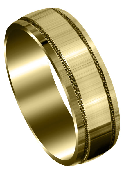 Yellow Gold Carved Simple Mens Wedding Band | High Polish Finish (Miles)
