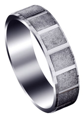 Carved Diamond Cut Mens Wedding Band | Stone Finish (Micah)
