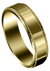 Yellow Gold Carved Simple Mens Wedding Band | Satin Finish (Vincent)