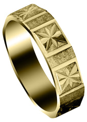 Yellow Gold Carved Diamond Cut Mens Wedding Band | Satin Finish (Greyson)