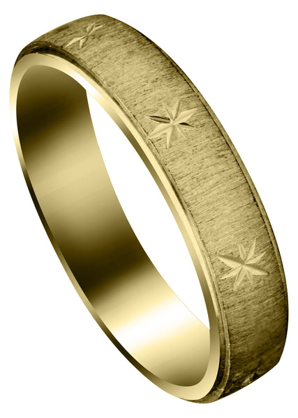 Yellow Gold Carved Diamond Cut Mens Wedding Band | Cross Satin Finish (Declan)