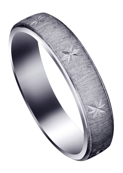 Carved Diamond Cut Mens Wedding Band | Cross Satin Finish (Declan)
