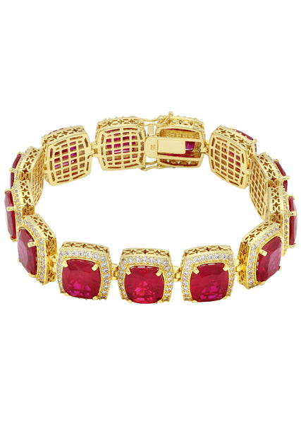 Gold Plated Mens Iced Ruby Bracelet