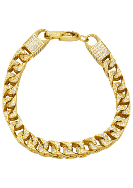 Gold Plated Mens Iced Out Solid Franco Bracelet