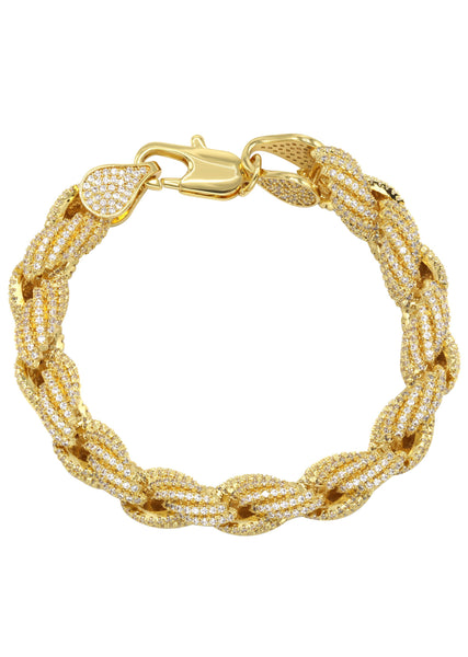 Gold Plated Mens Iced Out Solid Rope Bracelet
