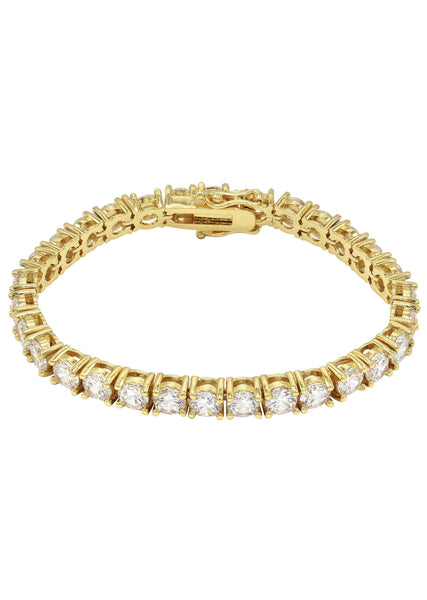 Mens Diamond Gold Tennis Bracelet