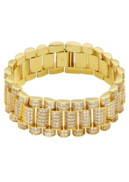 Gold Plated Mens Iced Out Presidential Band Bracelet