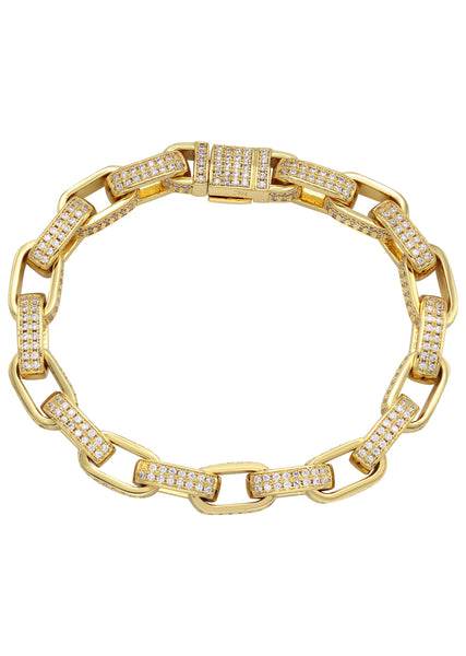 Gold Plated Iced Out Hermes Bracelet