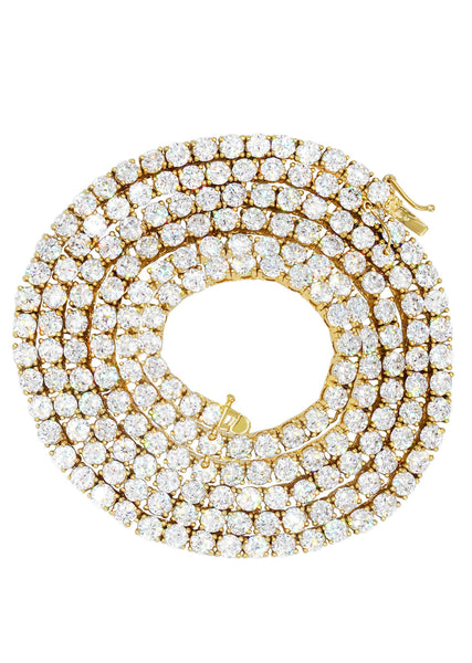 Mens Diamond Gold Tennis Chain