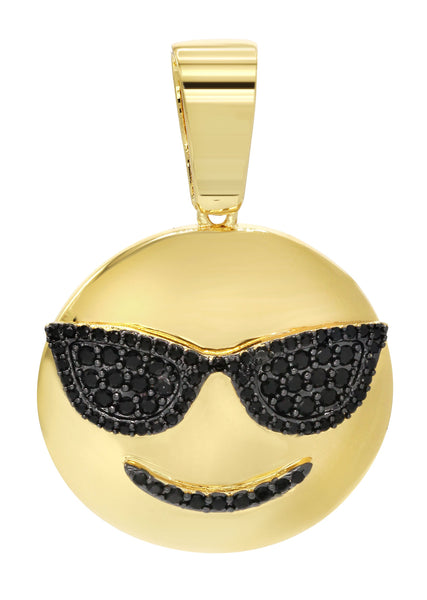 Mens Gold Plated Emoji Pendant | 7.6 Grams