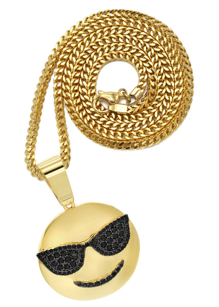 Mens Gold Plated Franco Chain & Emoji Pendant | Appx. 15.6 Grams