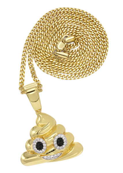 Mens Gold Plated Cuban Link Chain & Emoji Pendant | Appx. 17 Grams
