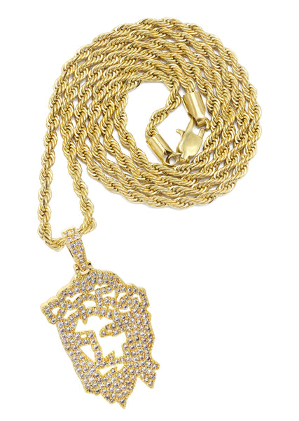 Mens Gold Plated Rope Chain & Jesus Piece Chain | Appx. 14.6 Grams