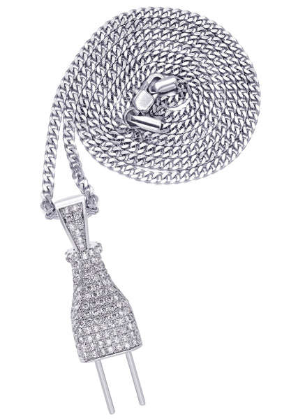 White Gold Plated Cuban Link Chain & Plug Pendant | Appx. 22.7 Grams