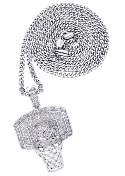 White Gold Plated Cuban Link Chain & Basketball Pendant | Appx. 27.3 Grams