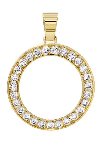 Mens Gold Plated Circle Pendant | 17 Grams