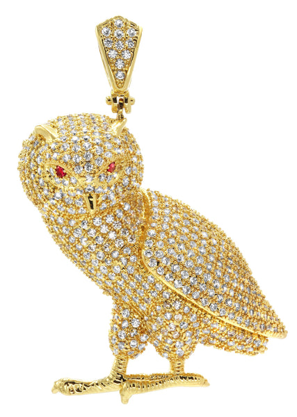 Mens Gold Plated Owl Pendant | 16.8 Grams