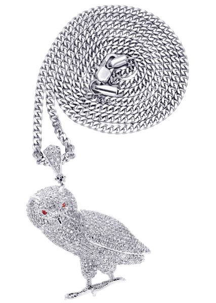 White Gold Plated Cuban Link Chain & Owl Pendant | Appx. 24.8 Grams