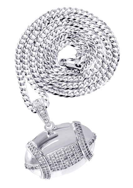 White Gold Plated Cuban Link Chain & Football Pendant | Appx. 15.3 Grams