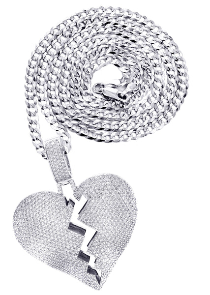 White Gold Plated Cuban Link Chain & Heart Pendant | Appx. 38.5 Grams