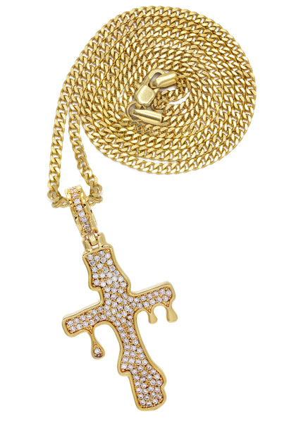 Gold Plated Cuban Link Chain & Melting Cross Pendant | Appx. 10.9 Grams